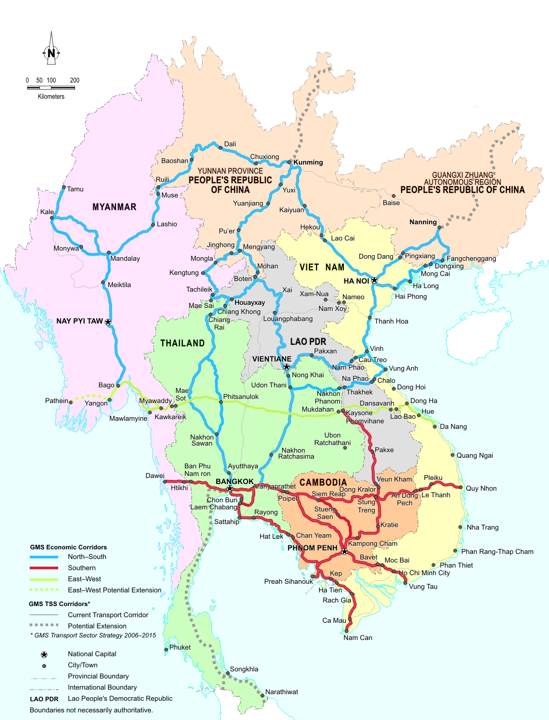 Map Of Asia North South East West.Economic Corridors In The Greater Mekong Subregion Greater Mekong