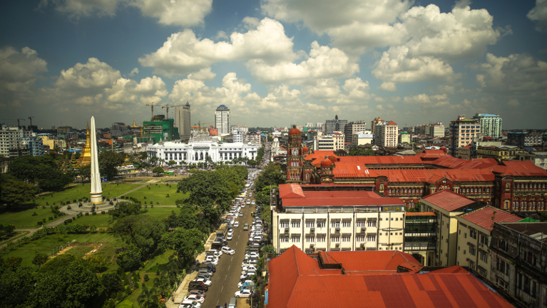 The road project is expected to improve travel between Yangon (in photo), Myanmar's largest city, and Mae Sot in western Thailand.